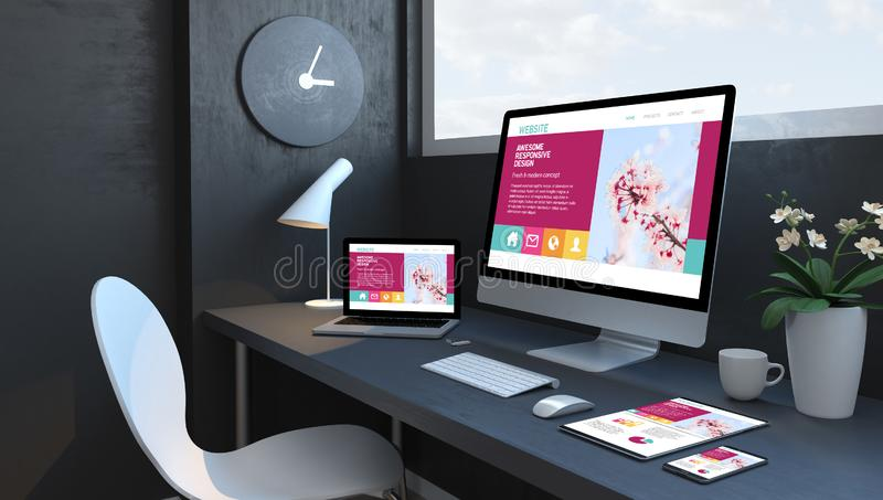 Navy blue workspace with responsive devices awesome responsive design website royalty free illustration