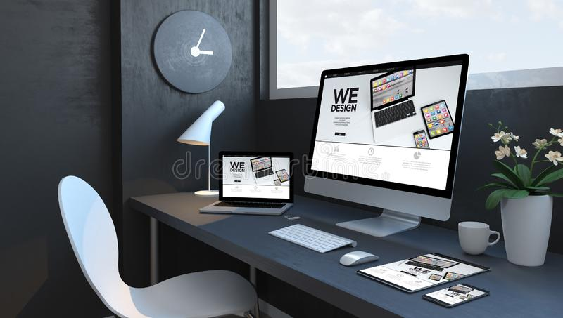 Navy blue workspace with responsive devices design website. Navy blue workspace with responsive devices 3d rendering design website vector illustration