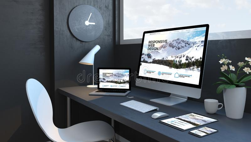 Navy blue workspace with responsive devices design website. Navy blue workspace with responsive website devices 3d rendering design website royalty free illustration