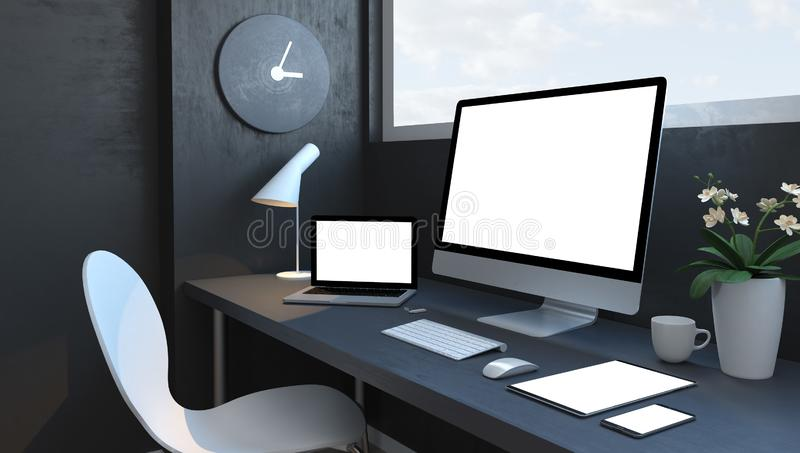 Navy blue workspace with responsive devices mockup. Navy blue workspace with responsive devices 3d rendering mockup stock illustration