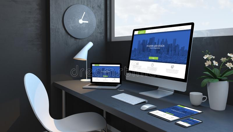 Navy blue workspace with responsive devices modern web design. Navy blue workspace with responsive devices 3d rendering modern web design vector illustration