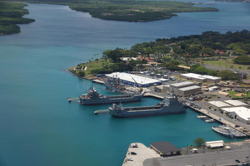 Navy Boats docked in Pearl Harbor. On Oahu, Hawaii royalty free stock photos