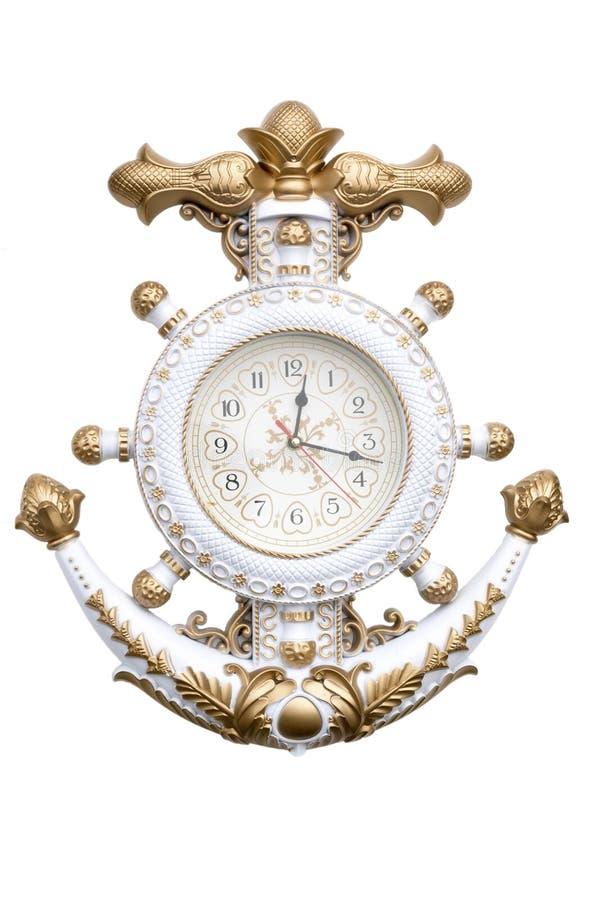Navy clock. Navy anchor clock isolate on white background royalty free stock photo