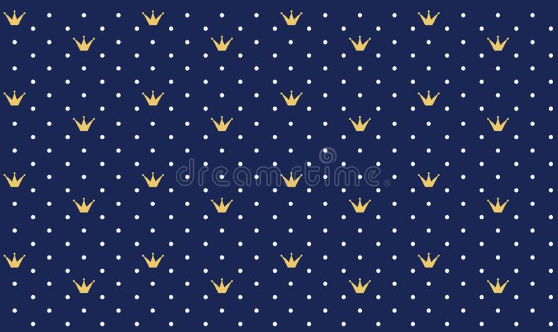 Navy dark blue seamless pattern in retro style with a gold crown. stock illustration