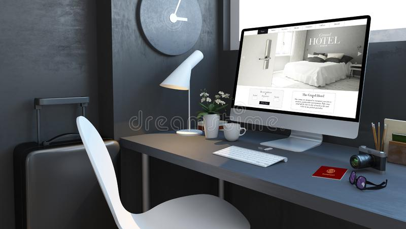 navy desktop with travel accesories and lgrand hotel website stock illustration