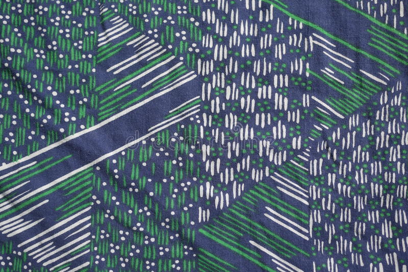Navy green white geometric Vintage real fabric 1970s cotton pattern royalty free stock photos