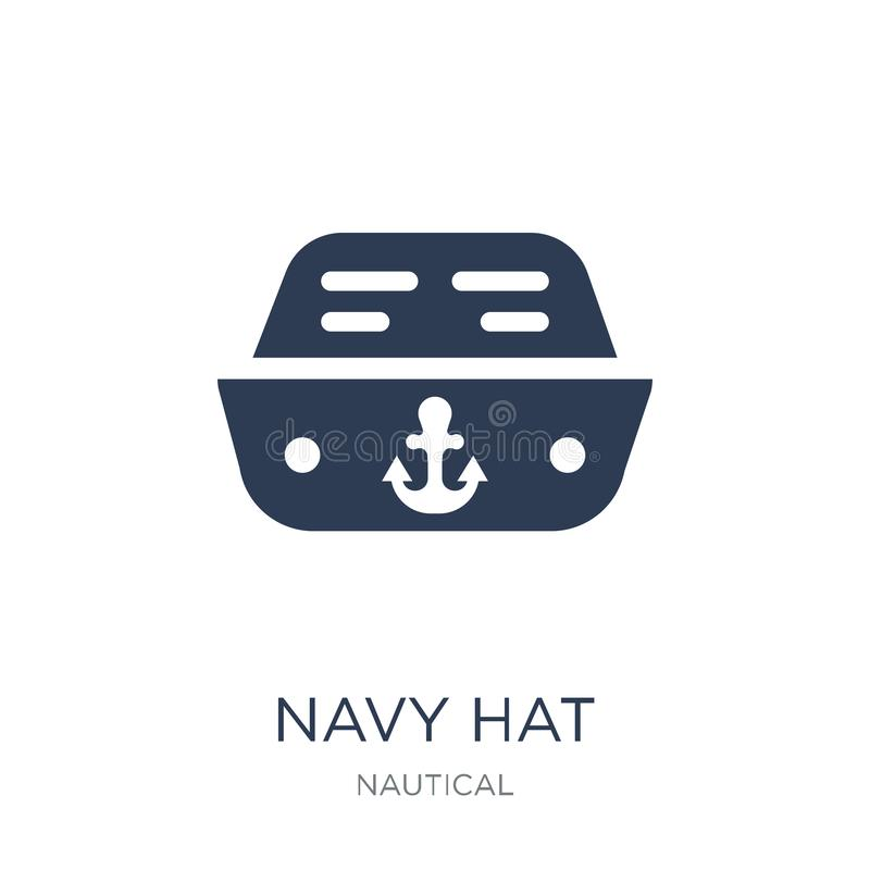 Navy Hat icon. Trendy flat vector Navy Hat icon on white background from Nautical collection vector illustration