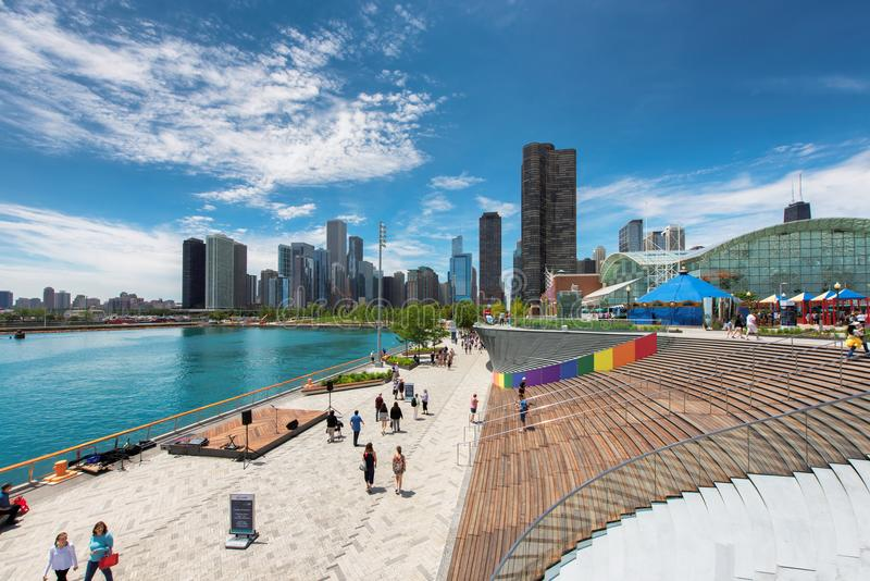 Navy Pier and Chicago skyline at summer time. royalty free stock images