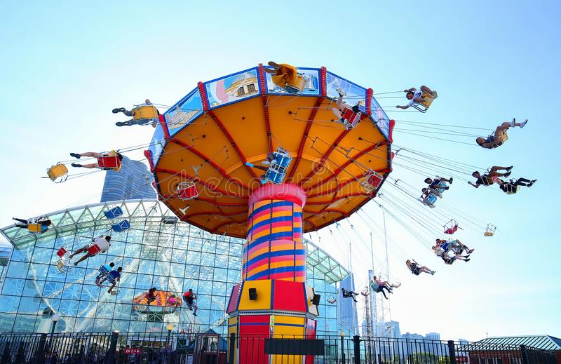 Navy Pier Wave Swinger ride in Chicago, Illinois. royalty free stock images
