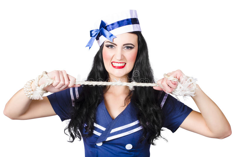 Download Navy Pin Up Poster Girl Breaking Rope Stock Photo - Image of military, activity: 32443192