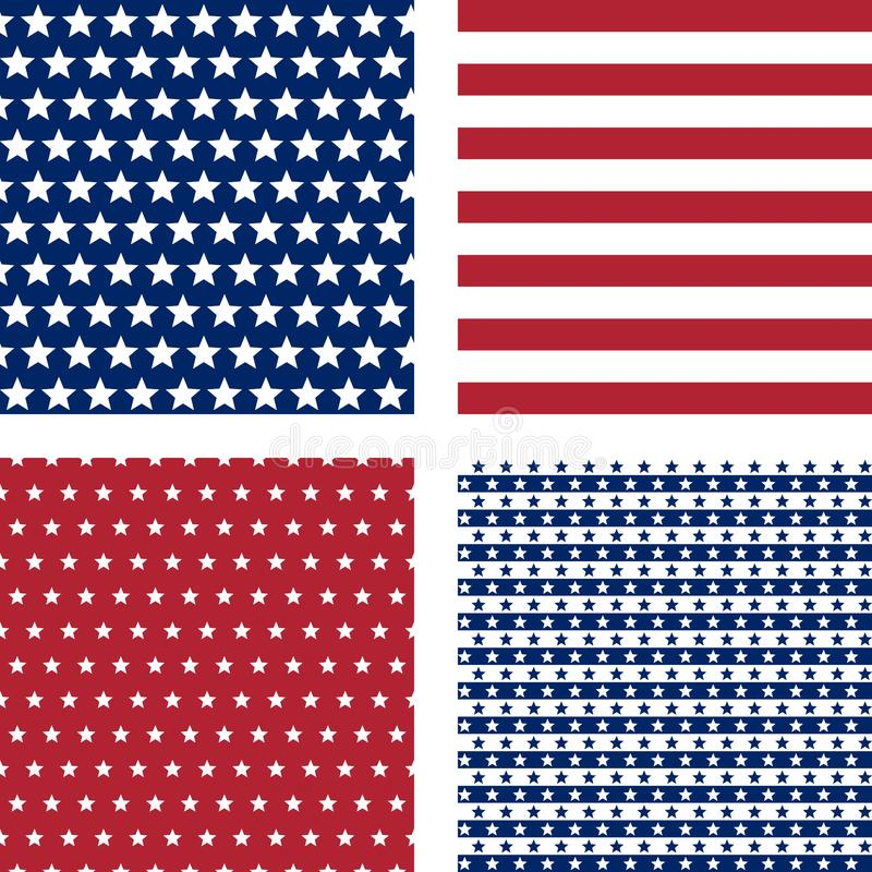 Navy and red stars and stripes, vector seamless patterns royalty free stock photos