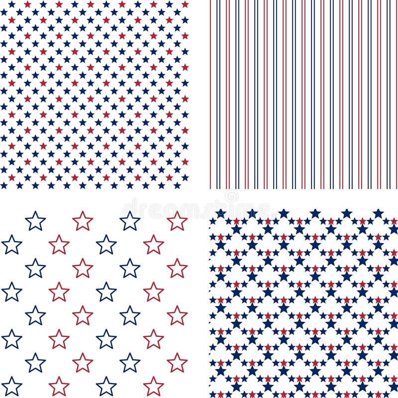Navy and red stars and stripes, vector seamless patterns royalty free stock images
