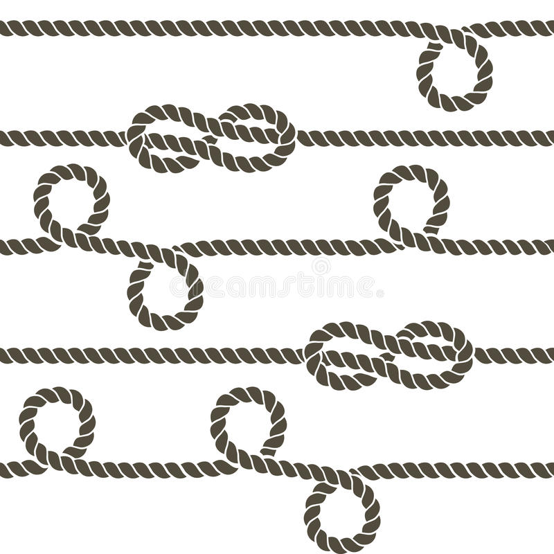 Navy rope with marine knots vector seamless pattern stock illustration