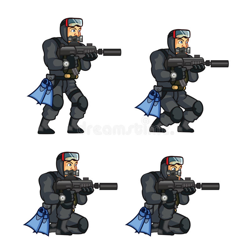 Free Navy Seal Game Animation Sprite Royalty Free Stock Images - 56978629
