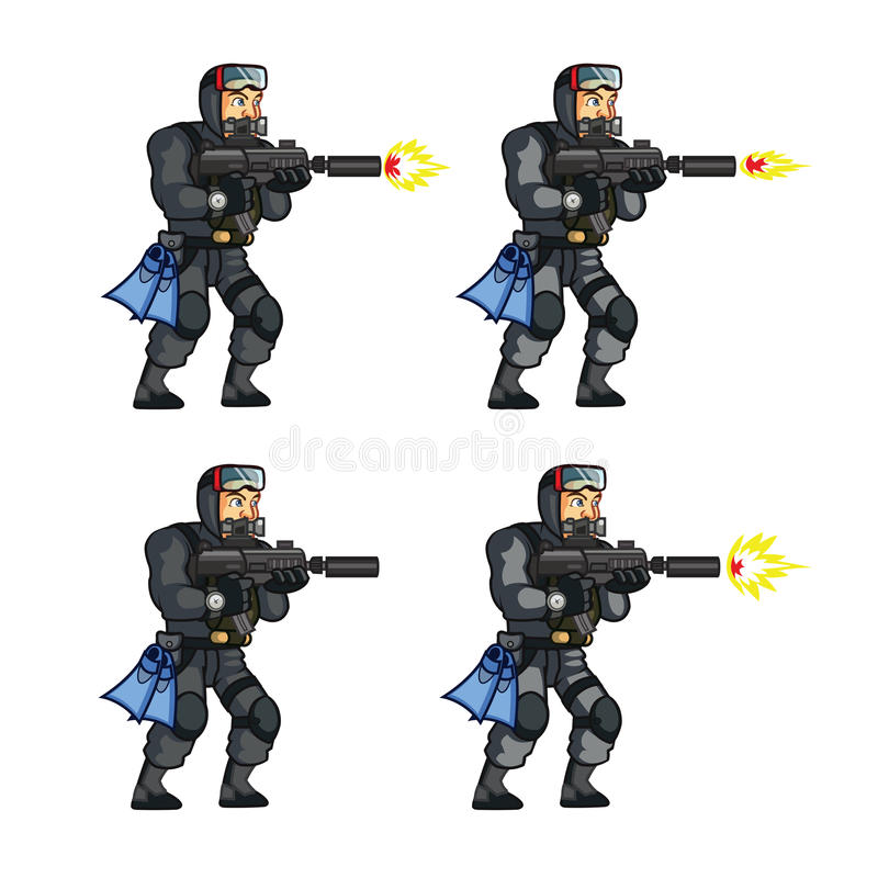 Free Navy Seal Game Animation Sprite Royalty Free Stock Images - 56979779