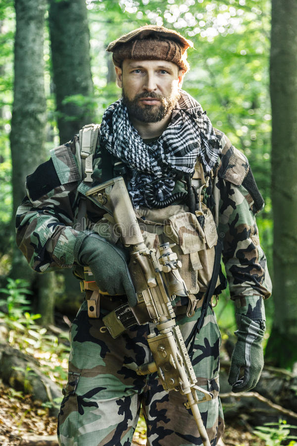 Navy SEAL Taliban hunter. Member of Navy SEAL Team also known as Taliban hunter with weapons stock images