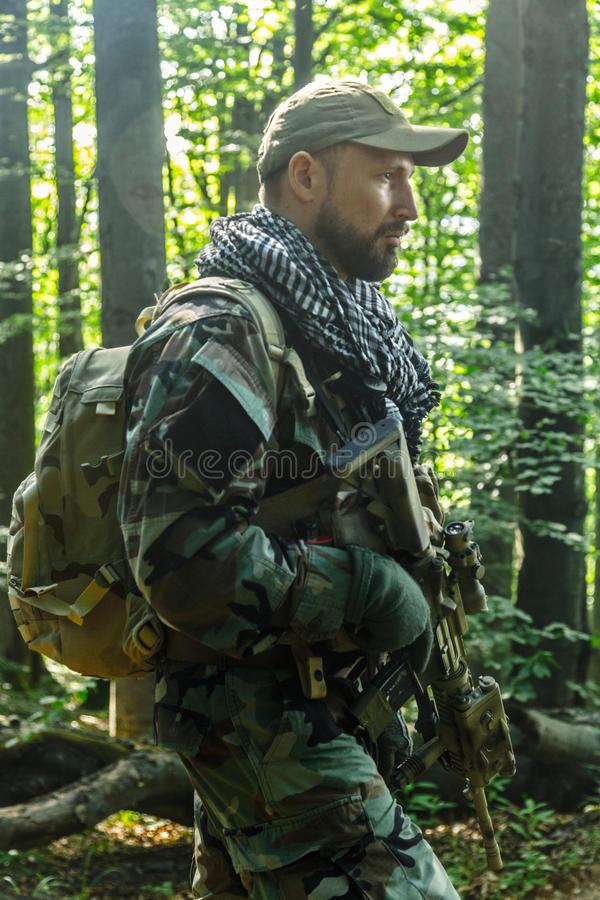 Navy SEAL Taliban hunter. Member of Navy SEAL Team also known as Taliban hunter with weapons stock photos