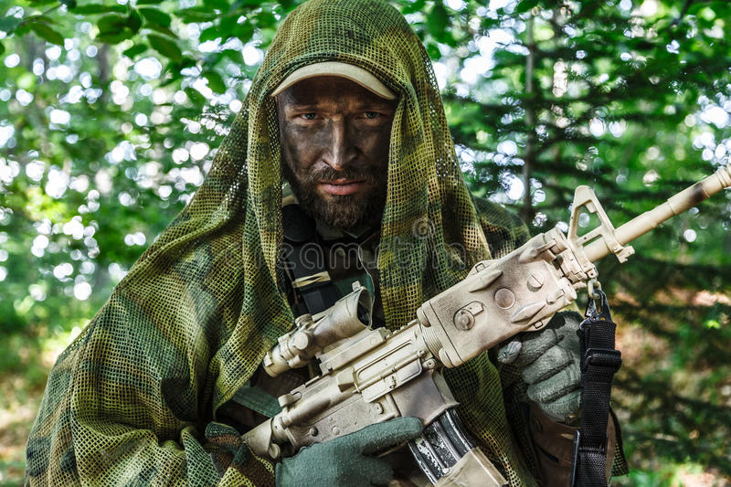 Navy SEAL Taliban hunter. Member of Navy SEAL Team also known as Taliban hunter with weapons stock image