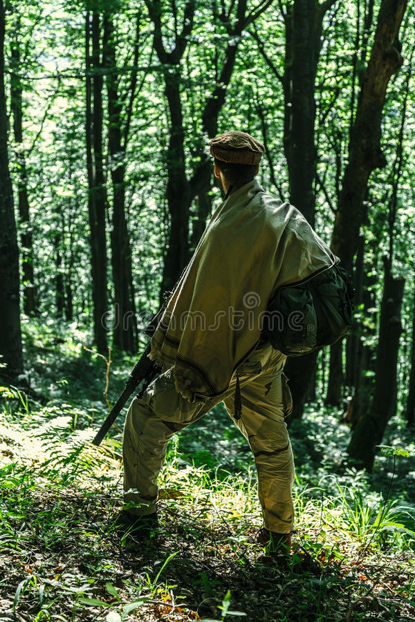 Navy SEAL Taliban hunter. Member of Navy SEAL Team also known as Taliban hunter with weapons royalty free stock photography