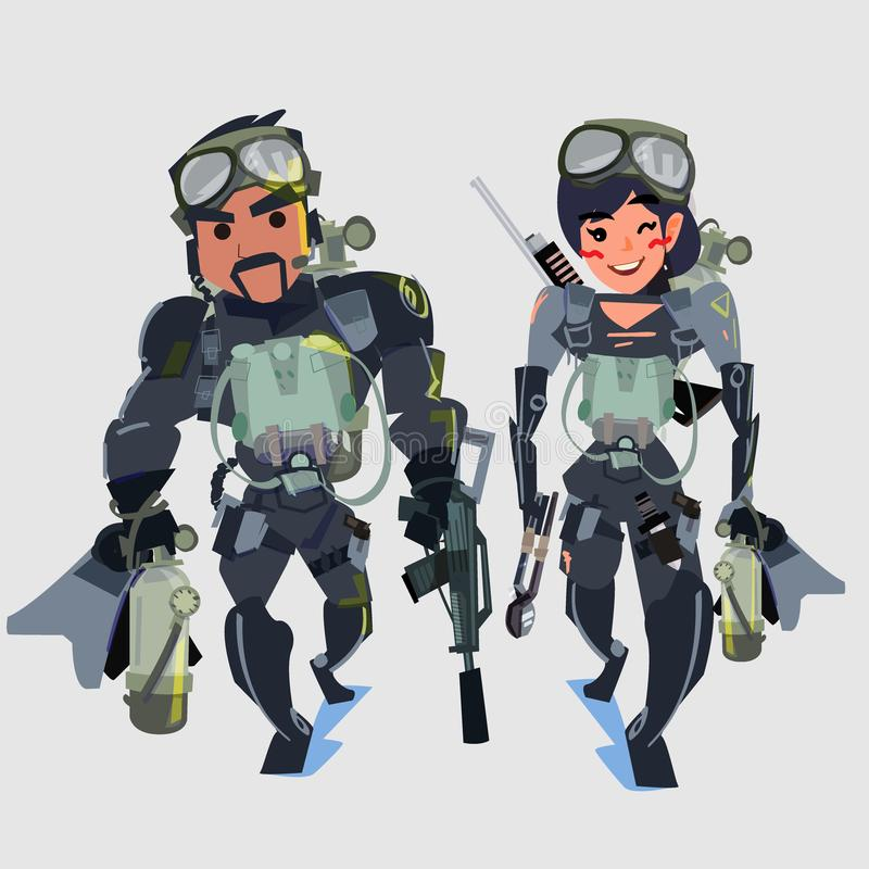 Man and woman Navy seal team couple - vector illustration. Navy seal team couple - vector illustration vector illustration