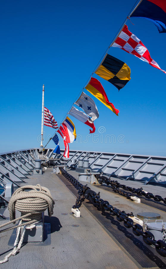 Free Navy Ship Bow With Nautical Flags Stock Images - 26611554