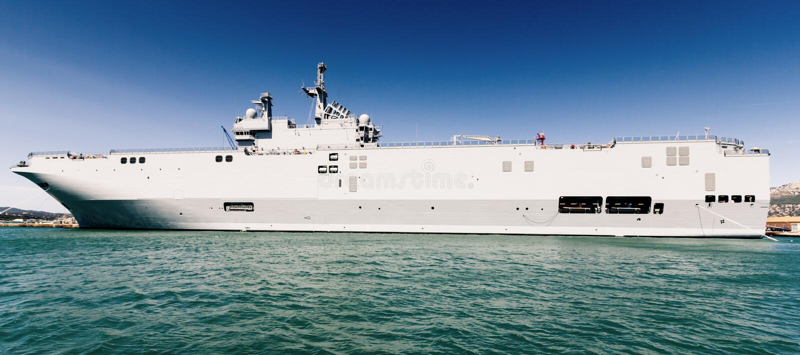Navy ship. Massive navy ship moored in Toulon harbor, France stock photo