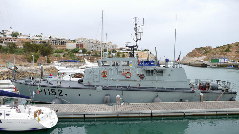 Navy ship moated - Portugal stock photography