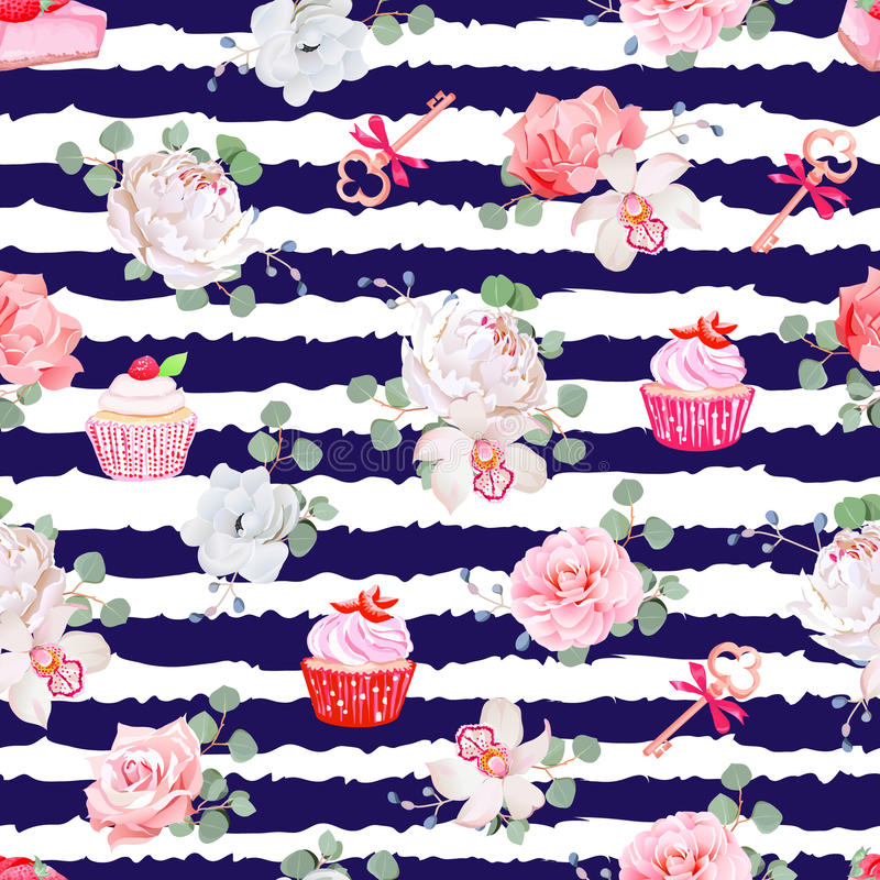 Free Navy Striped Seamless Vector Pattern With Fresh Pastries, Bouquets Of Flowers And Keys With Red Bows. Stock Image - 72099631