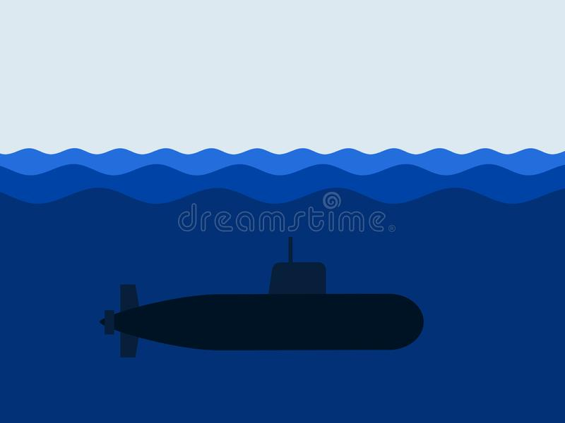 Navy submarine and boat is under water royalty free stock photos