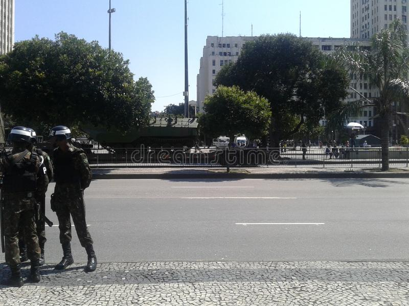 Navy truck and tanks independence day parade. 09-07-2019 Brazilian independence day parade. Guards and Navy truck and tanks in Presidente Vargas avenue Rio de royalty free stock images