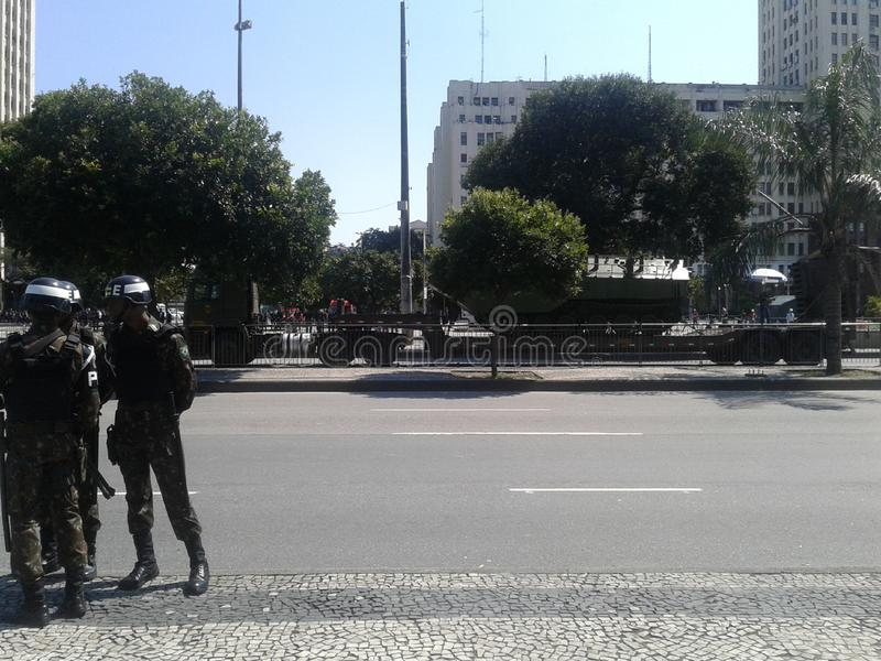 Navy truck and tanks independence day parade. 09-07-2019 Brazilian independence day parade. Guards and Navy truck and tanks in Presidente Vargas avenue Rio de stock photos
