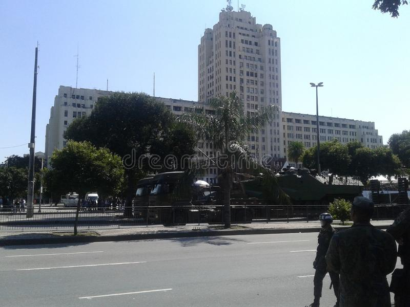 Navy truck and tanks independence day parade. 09-07-2019 Brazilian independence day parade. Guards and Navy truck and tanks in Presidente Vargas avenue Rio de royalty free stock photos