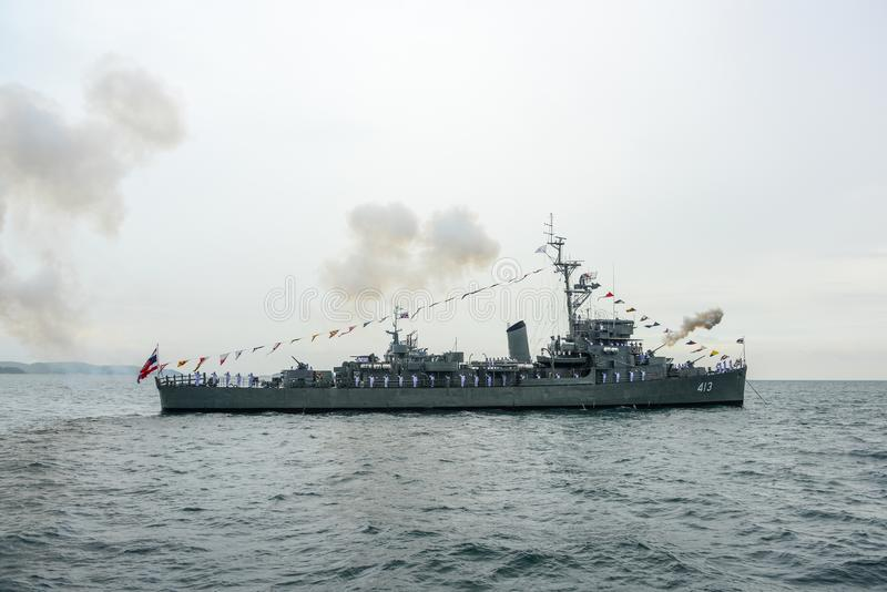 Navy warship gunning salute on sea in international fleet review. Pattaya, Thailand - November 20, 2017, Navy warship gunning salute on sea on the 50th stock photography