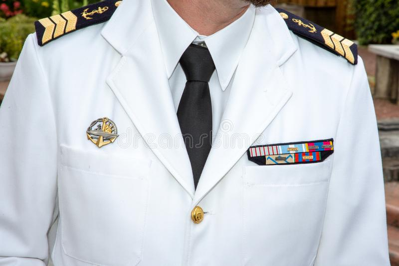 Navy white naval officer uniform french military sailor stock image