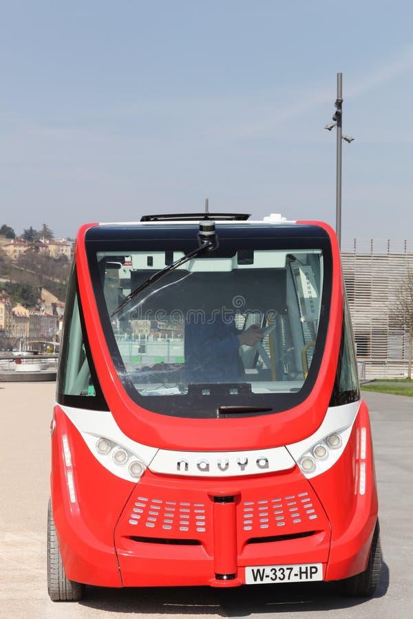 Navya autonomiczny vehicule w Lion, Francja zdjęcie royalty free