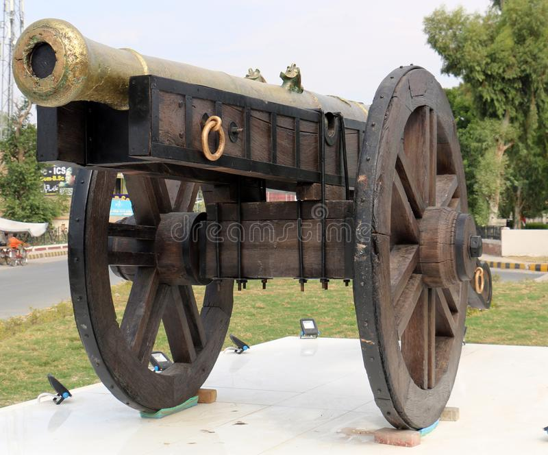 Nawab of Bahawalpur cannon on wheels for war, Castle cannon for defend. Ancient Gun Barrel of the castle. Antique cannons on gun c royalty free stock photo