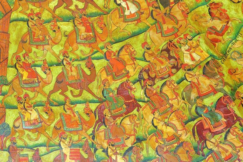 NAWALGARH, RAJASTHAN, ÍNDIA - 29 DE DEZEMBRO DE 2017: Pinturas murais Sheesh em Mahal com as pinturas diminutas de Mughal que rep fotos de stock royalty free