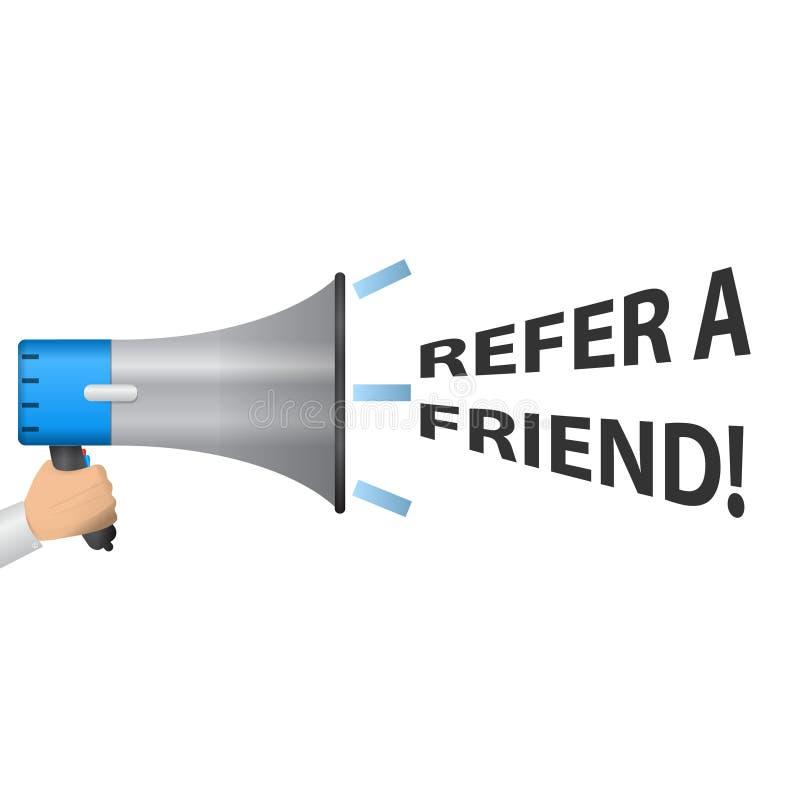Nawiązywać do przyjaciel inskrypcję Ręka wp8lywy głośnik Skierowanie program obraz royalty free