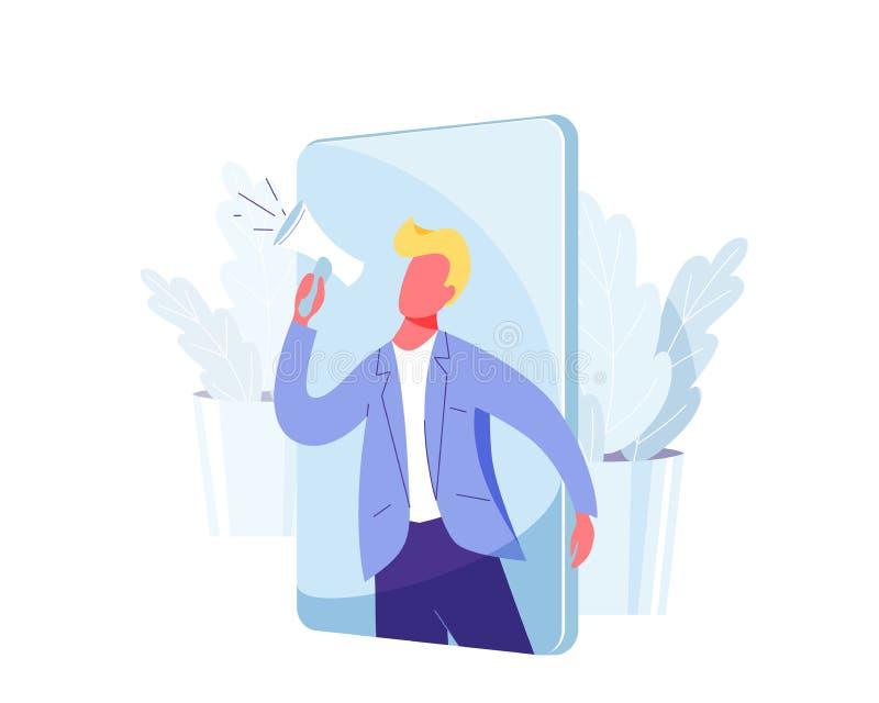Nawiązywać do przyjaciela marketingowego wektorowego tło Biznesowego mężczyzny krzyk przy megafonem o lojalności, promocja, preze ilustracja wektor