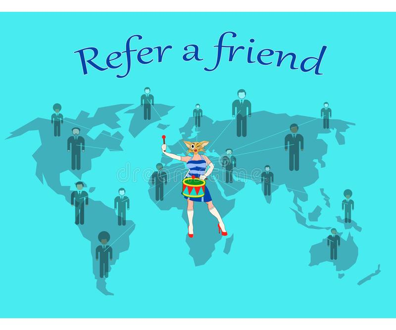 Nawiązywać do przyjaciela od wszystkie pięć kontynentów royalty ilustracja