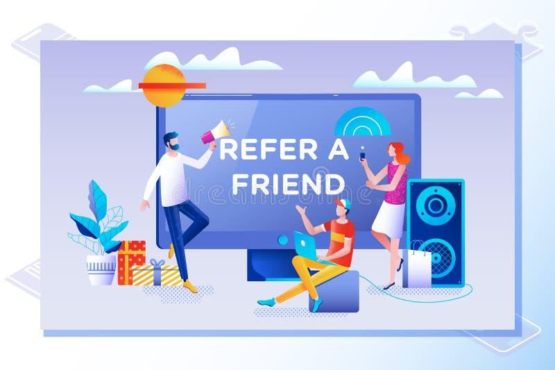 Nawiązywać do przyjaciela pojęcie Przyjaciela udzielenia skierowania kod Wektorowa ilustracja z charakterem, ląduje stronę ilustracji