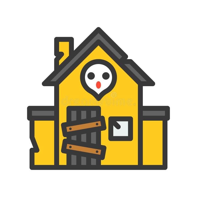 Nawiedzający dom, wypełniający konturu stylu editable uderzenie royalty ilustracja
