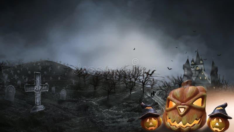 Nawiedzający Hause z baniami droga, ciemny straszny cmentarza dymu światło - szarość na czarnego tła horroru Halloweenowym pojęci ilustracji