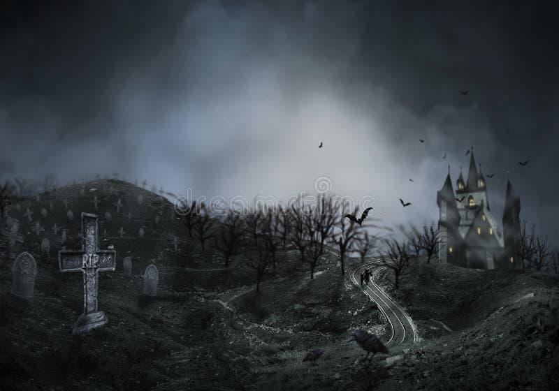 Nawiedzający Hause z baniami droga, ciemny straszny cmentarza dymu światło - szarość na czarnego tła horroru Halloweenowym pojęci royalty ilustracja