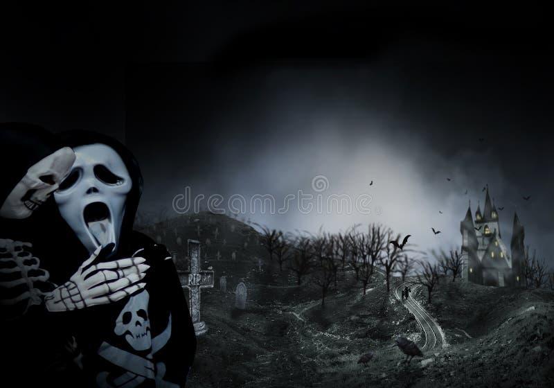 Nawiedzający Hause z strasznym droga, ciemny straszny cmentarza dymu światło - szarość na czarnego tła horroru Halloweenowym poję ilustracji