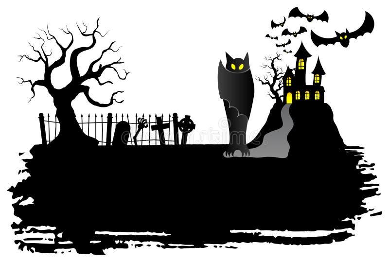 Nawiedzający kasztel z nietoperzami royalty ilustracja
