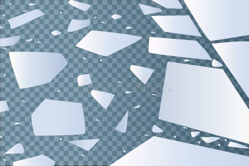 Nawierzchniowa tekstura pęka na lodzie, odosobnionym na przejrzystym tle również zwrócić corel ilustracji wektora potłuczone szkł ilustracja wektor