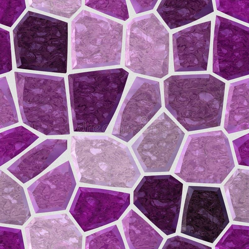 Nawierzchniowej podłoga marmuru mozaiki bezszwowy tło ciemna purpura i fiołkowy kolor z białym grout - ilustracja wektor