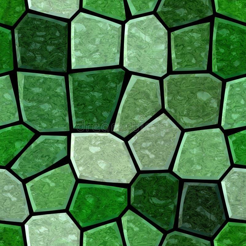 Nawierzchniowy marmurowy mozaika wzoru bezszwowy tło z czarnym grout szmaragd, malachit, olivine i zielony kolor -, ilustracji