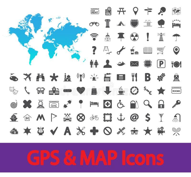 Nawigaci mapy ikony ilustracji